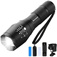 LED Torch, Binwo Super Bright 2000 Lumen Rechargeable Torch, CREE T6 Tactical Flashlight with 5 Modes, Zoomable Waterproof Flashlight Torch for Hiking, Camping and Outdoor Activities