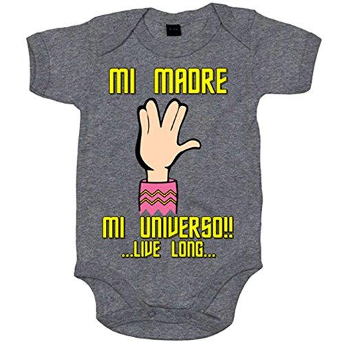 BODY BEBE STAR TREK MI MADRE MI UNIVERSO ROSA REGALO PARA MADRE TREKKIE   GRIS  6 12 MESES