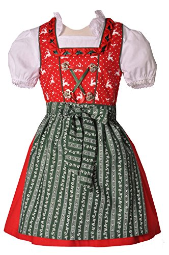 Kinderdirndl Pfofeld rot/grün 3-tlg. Set, Gr. 74/80