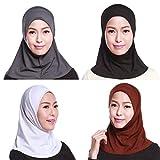 GladThink Delle Donne Musulmane Mini Hijab Caps Sciarpa Islamica 4 Pezzi Set No.1