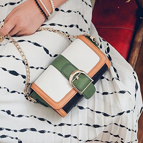 Weibliche Tasche Schlagfarbe Naht Kette Kleine Quadratische Mode Schulter Schräge Kreuz Handtasche Schwarz