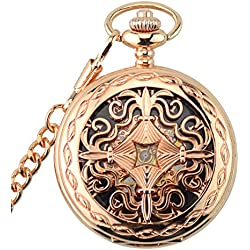 Jelercy Womens Hand Wind Rose Gold Tone Case and Roman Numberal Pocket Watch,Half Hunter