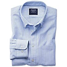 Slim Fit Button-Down Washed Oxford White and Blue Stripe Cotton Shirt Single Cuff by Charles Tyrwhitt