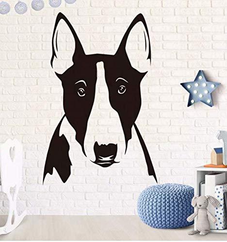 cptbtptp Schwarz Hund Kopf Abnehmbare Vinyl Wandaufkleber Für Kinderzimmer Bull Terrier Porträt Tapete Aufkleber Home DecoratioAccessories65x43 cm