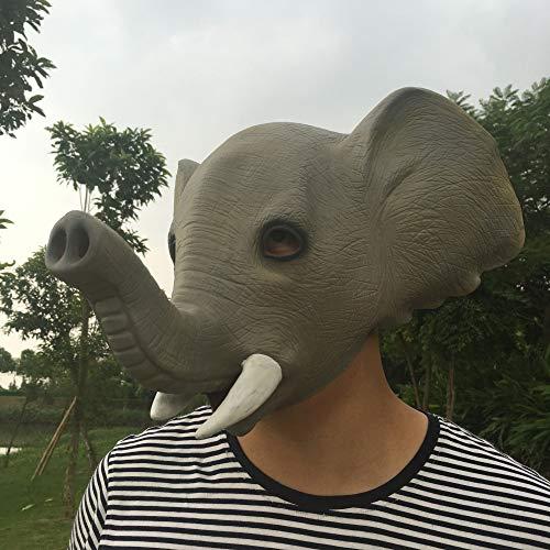 Circlefly Máscara de látex Elefante Capucha Halloween Animal Fiesta Baile Divertido Elefante Peluca niño máscara