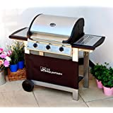 Fire Mountain Everest 3 Burner Gas Barbecue in Stainless Steel and Black with Free Gas Regulator and Hose