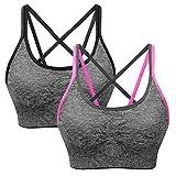 SANMIO Sport BH Damen Yoga Fitness Push Up BH, abnehmbare Polsterung und Ohne Bügel, Starker Halt Bra(Verpackung/MEHRWEG) (Schwarz Rot, Size M Fit 70B/70C/70D/75A/75B/75C/75D)