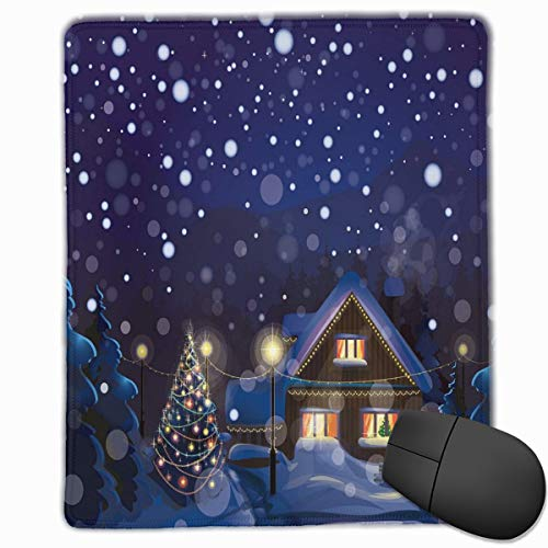 Mouse Mat Stitched Edges, Winter Night Country Landscape With Little House Among Pine Trees And Snow,Gaming Mouse Pad Non-Slip Rubber Base -