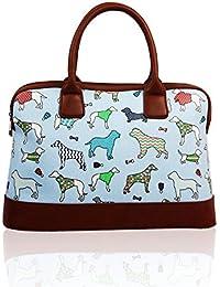 SALE Dogs & Pups 'Cath Kidston' Designer Style Matte Canvas Summer Bowler Zip Handbag