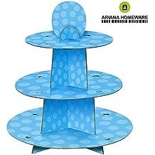 Ariana® Bebé Ducha reutilizable Cupcake soporte 3Tier redonda torre en cuatro diseño de lunares, lunares, Rosa, Azul–Frozen Elsa, Batman superhéroe Blue Polka