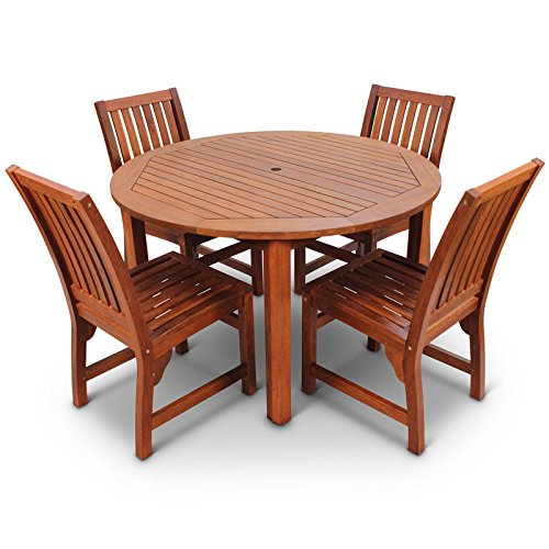 Devon Hardwood Dining Set with Round Table and 4 Chairs Suitable As Outdoor Furniture or for Indoor