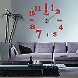 ZREAL Grande orologio da parete fai da te 3D specchio adesivo stumm soggiorno Home Office decorazione orologi, rosso
