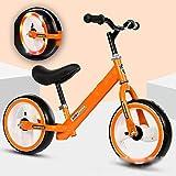 ANYURAN Bicicleta De Equilibrio para Niños, Carro De Deslizamiento De Rodillo De Destello Colorido, 12 Pulgadas, Adecuado para Bebés De 3-9 Años,Orange
