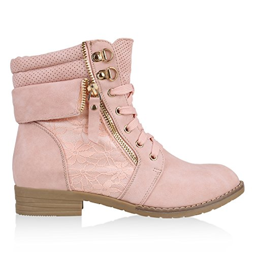 Stylische Damen Stiefeletten | Worker Boots Spitze | Knöchelhohe Stiefel Gesteppt | Damenschuhe Leder-Optik | Zipper Ketten Blockabsatz Rosa
