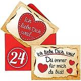 Adventskalender Füllung Set mit 24 Liebesbeweisen in Kärtchen-Form inkl. roten Umschlägen