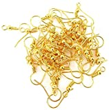 #1: Jewellery Making Golden Finish Earring Hooks, 200 pcs (100 Pairs)
