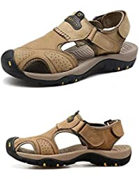 Sandales à Bout Ouvert en Cuir pour Hommes Chaussures De Plage Respirantes pour Hommes Sandales De Sport Sandales D'été pour Pêcheur,Yellow-38