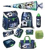Fußball Schulranzenset Scooli Campus Up 10tlg. mit Sporttasche, Schultüte 85cm und Regen-/Sicherheitshülle FCPR8252
