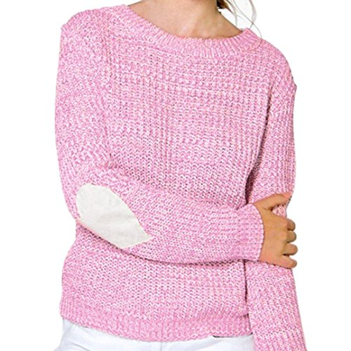 KEERADS Femmes Hearted Manches Lâche Cardigan Tricoté Pull Pull Tricots Outwear Rose