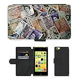PU Leder Wallet Case Folio Schutzhülle // M00154398 Geld-Währung Finanzen Reichtum // Apple iPhone 5C
