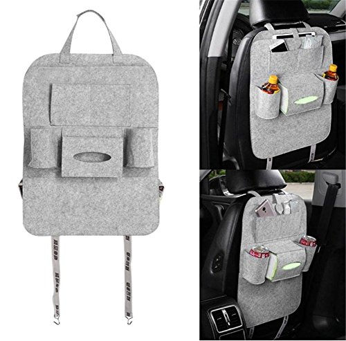 Preisvergleich Produktbild Back Seat Car Organizer, Silence Shopping Multi-Pocket Travel Lagerung Auto Sitz Rücken Tasche (Hellgrau)