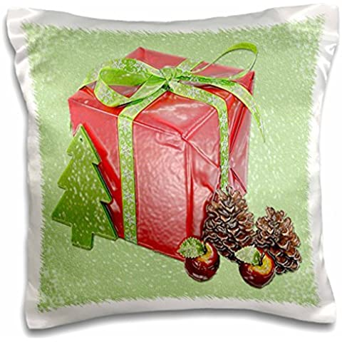 Sandy Mertens Christmas Designs - Red Present, Christmas Tree, Pinecones and Apples in Plastic Art - 16x16 inch Pillow