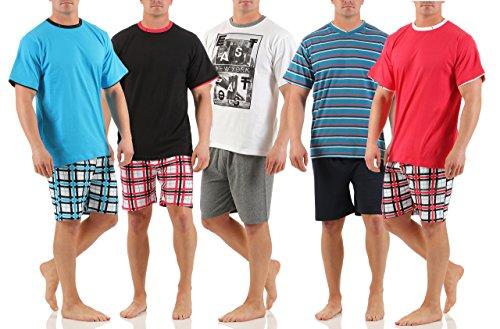 Herren Shorty Schlafanzug Rund & V-Ausschnitt in verschiedenen Modellen wählbar kurze Hose Grösse M L XL XXL Rundhals schwarz mit rot karierter Hose