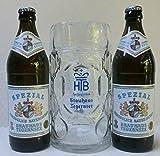 Die Tegernseer Spezial Maßkrug Vielfalt mit 2 Flasche Tegernseer Bier Spezial 0,5l und 1 Stück Tegernseer Maßkrug 1l