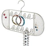 mDesign Práctico organizador de joyas – Con 22 ganchos – Mueble joyero para anillos, gafas, collares, pendientes y demás accesorios – Joyero con ganchos – Color: satinado