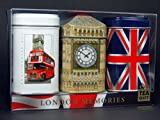 Pomeriggio inglese e tè nero, ricordi? Scatole di tè in metallo esclusive (cabina telefonica, Big Ben e Union Jack), set regalo 3 x 50 g in combinazione?