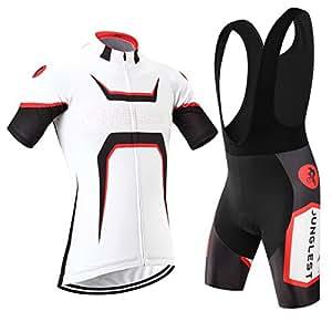(Coussin 3D)(Type:Ensemble(Bretelle blancs) taille:XXXL) de séchage Sports Jersey cyclisme courtes rapide de Maillots manches Outdoor Mode plein Jerseys air Homme respirant Cycling 2015