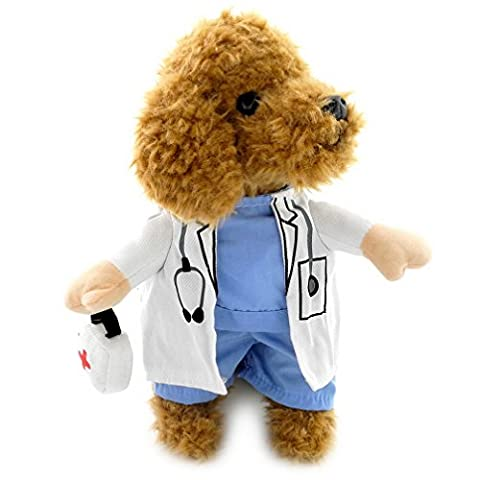 Ranphy Small Dog Cat Clothes for Female Male Doctor Dog Costume Uniform Medicine Box Decorated Holiday Fancy Jumpsuit White