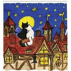 ABAKUHAUS Romance Cortina de Baño, Dos Gatos del Amante con El Cielo, Material Resistente al Agua Durable Estampa Digital, 175 x 200 cm