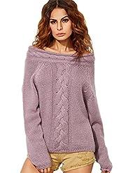 YOUJIA Femmes épaule off Hauts en tricot Manches Longues Chandails Câble Tricoté Pulls Confortable Sweater Tops