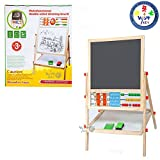 #6: Wishkey Wooden Double Sided Writing Drawing Easel White and Black Board for Kids with Abacus and Maths Learning, Stand, Chalk and Duster