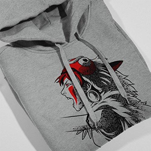 Princess Mononoke Side Profile Womens Hooded Sweatshirt Heather Grey
