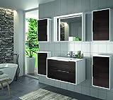 ALLIBERT Badmöbel-Set Badmöbel vormontiert Softclose-Funktion Eiche schwarz Spiegel Waschtisch 80 cm