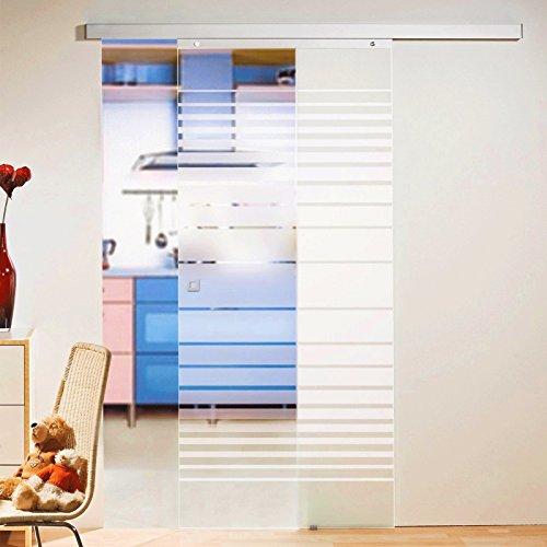 Schiebetür Glas-Schiebetür Zimmertür 880 x 2035 mm Innentür Komplettset mit Laufschiene & Glastür (Streifen satiniert) Glasschiebetür Streifen satiniert 880x2035mm, 8mm Sicherheitsglas (ESG) + Zubehör Glasschiebetür 880er Quadratgriff