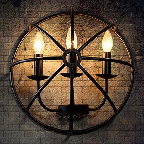 Jinpengran retro lampada da parete, creativo in ferro battuto semi-circolare vento industriale muro di luce, caffè, ristorante, camera da letto, ecc (esclusa la fonte di luce)