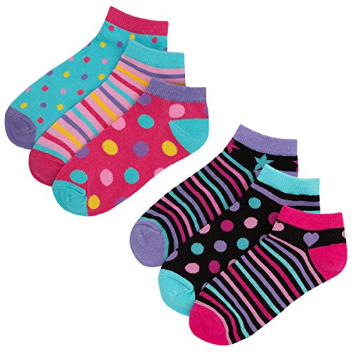 Girls Novelty Cotton Rich Crew Socks (6 & 12 Pair Multipack) Ankle Trainer Liner
