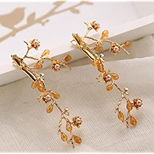 CYY Braut Kopfschmuck Kristall Perlen Wasser Bohrer Clip Gold Blume Braut Seite Clip