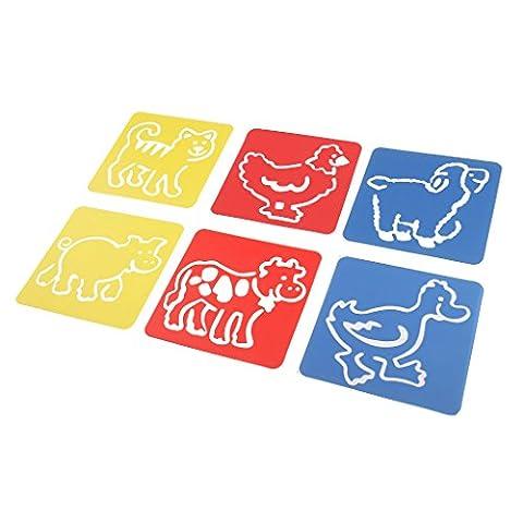 MagiDeal Set De 6 Pcs Stencils Règle à Dessin Animé Pochoirs Pour Enfants DIY Artisanat 14x15cm - Animal Domestique