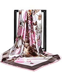 e8f798e5d56 ... pour Vêtements   Femme   Accessoires. HIDOUYAL Grand Foulard 90x90cm Satin  Imprimé Fleurs Multicouleurs