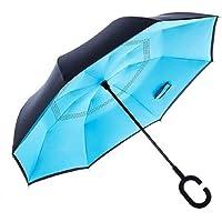 Ashoka's Mart Double Layer Inverted Reversible No Drip Umbrella with C Shape Handle (Color May Vary)