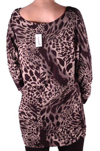 EyeCatch Plus Size - Tunique longue imprimé animal Una - Femme Brun