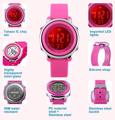 Kinder Digitaluhren für Mädchen Geschenke 5 Bars wasserdicht Outdoor Sportuhr mit 7 LED HintergrundbeleuchtungWeckerStoppuhr, Elektrische