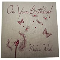 WHITE COTTON CARDS wb140 1-Piece on Your Birthday Make a Wish Handmade Card