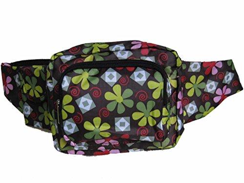Pasa el ratón por encima de la imagen para ampliarla Riñonera bolsa de Viaje Práctica Senderismo Deporte Fanny Pack de la Correa de Cintura Bolsa zip,fleurs negro