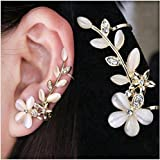 ITS - New Crystal Pearl Flower gold color Ear Cuff Ear clip for Women (Left Ear Only)