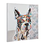 Unbekannt [art.work] Original handgemaltes Wandbild mit Französischem Bulldoggen-Motiv auf Leinwand inkl. Keilrahmen